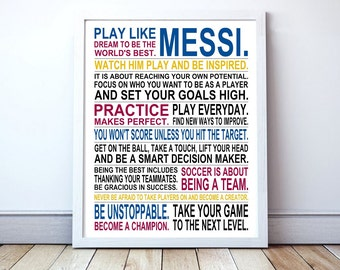 Play Like Messi -  Soccer Poster | Lionel Messi | Inspirational Manifesto | Gift for Soccer Players | Soccer Gift | Soccer Player Art