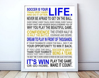 Soccer Is Your Life - Soccer Manifesto Poster | Custom Poster | Soccer Gift | Boys Soccer Poster | Girls Soccer Poster | Soccer Wall Art
