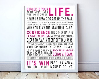 Play The Game - Soccer Manifesto Poster | Soccer Gift | Boys Soccer Poster | Girls Soccer Poster | Soccer Wall Art