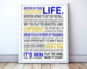 Soccer Is Your Life - DIGITAL DOWNLOAD | Soccer Poster | Soccer Player Gift | Soccer Wall Art | Manifesto Poster