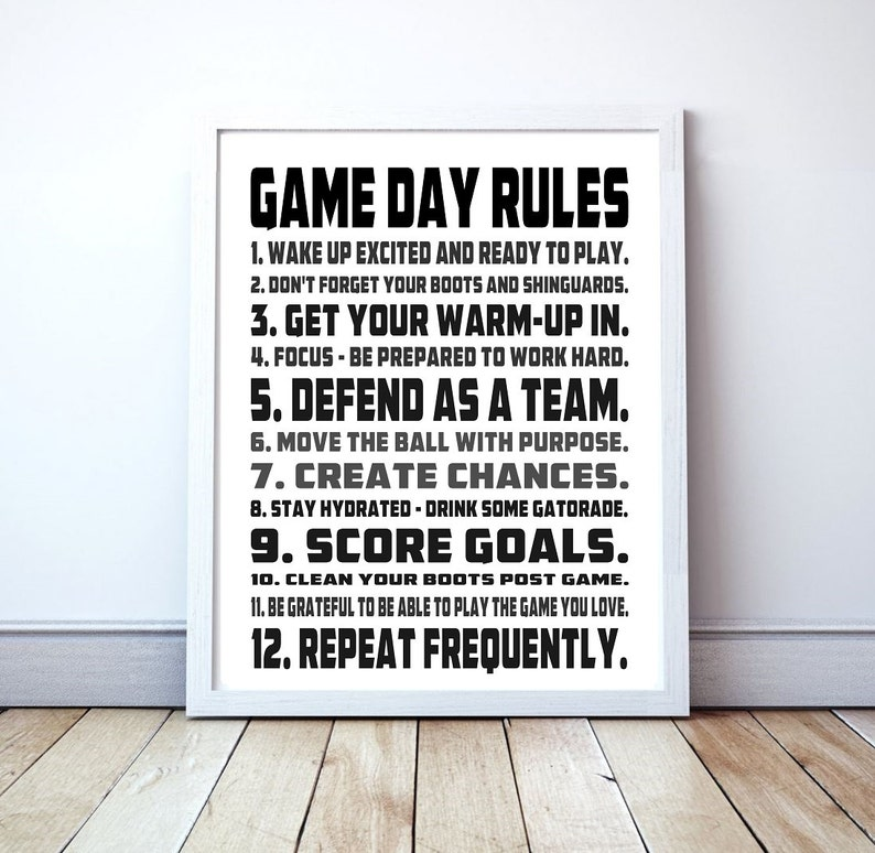 454186835 Game Day Rules Custom Soccer Typography Print | Etsy