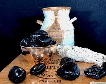 Tumbled Black Tourmaline reiki charged Medium or Large, protection crystal, reiki, healing stones