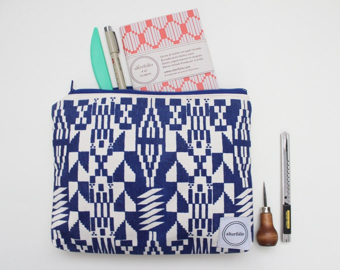 Kente Cloth Inspired Screen Printed Zipper Pouch/Makeup Bag