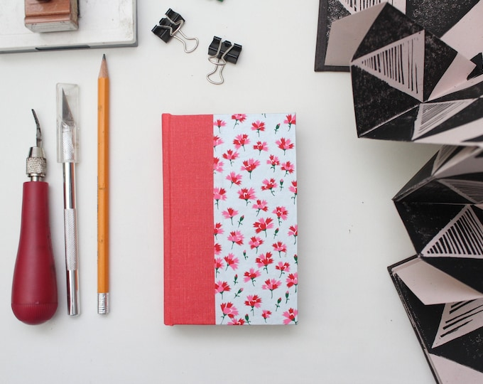 Red Floral Pattern Miniature Drawing Sketchbook