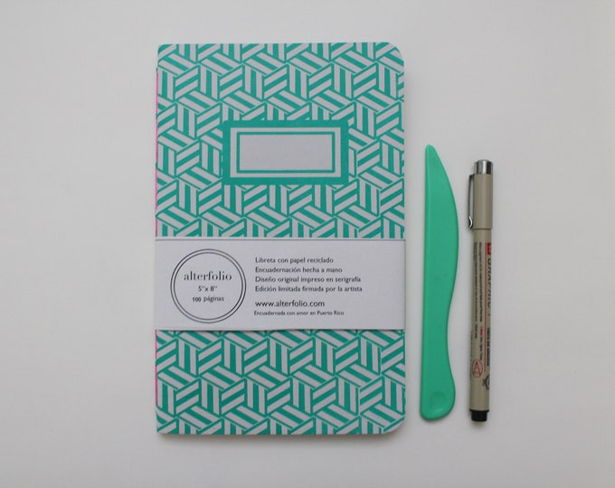 Emerald Green Hexagon Pattern Screen Printed Notebook with Blank Recycled Paper