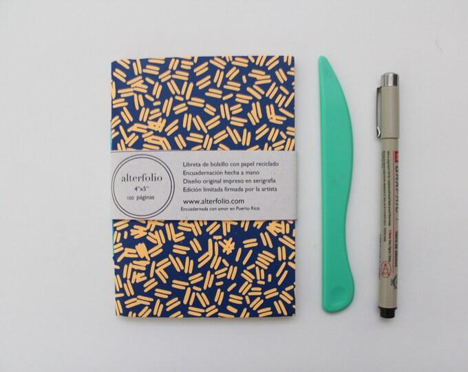 Ultramarine Blue Sprinkle Pattern Screen Printed Pocket Notebook with Blank Recycled Paper