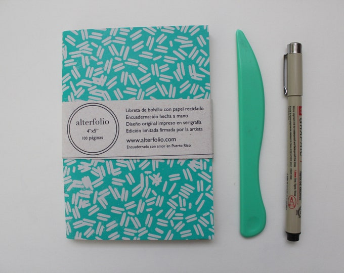 Turquoise Sprinkle Pattern Screen Printed Pocket Notebook with Blank Recycled Paper