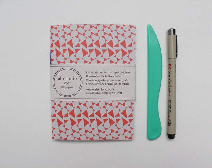 Geometrical Triangles Pattern Screen Printed Pocket Notebook with Blank Recycled Paper