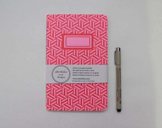 Bright Red Hexagon Pattern Screen Printed Notebook with Blank Recycled Paper