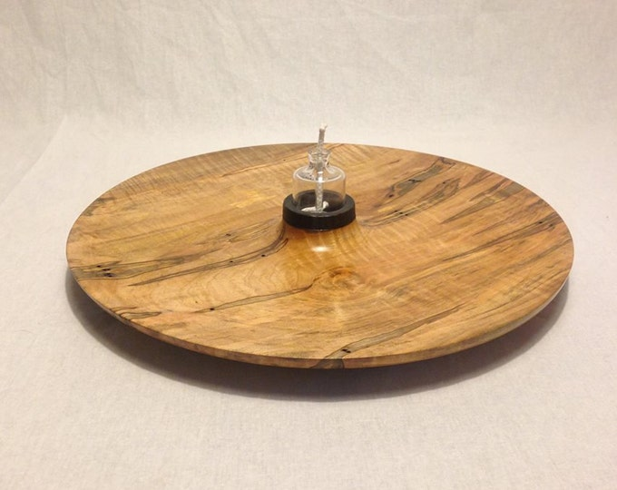 Featured listing image: 14-in. Hand Turned Ambrosia Maple Platter with Hand blown Glass Oil Lamp