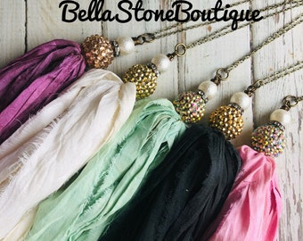 Large crystal sparkle multi color sari silk tassel necklacesari Silk tassel necklacegreen blue pink tasselboho TAssElhand Bead chainrts