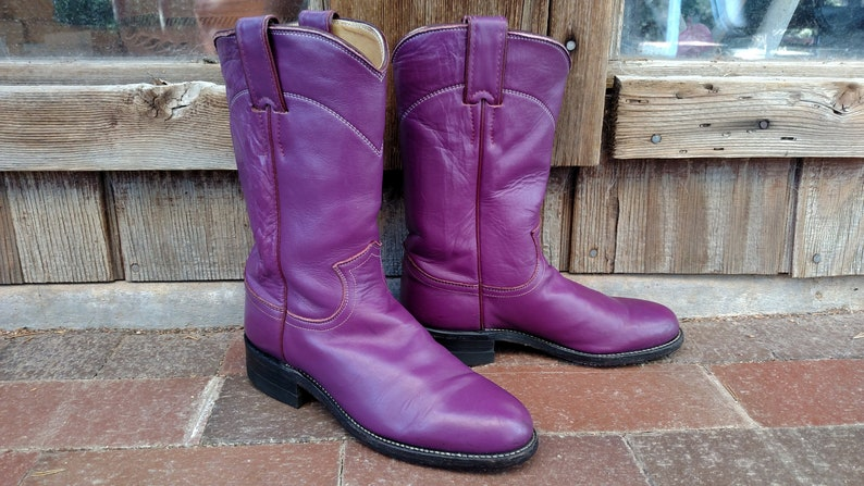 dac98d8051e 4/4.5 C (Wide) JUSTIN Vintage Purple Cowboy Cowgirl Roper Boots
