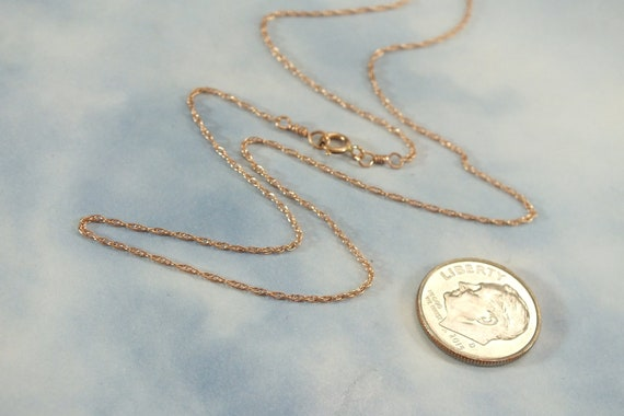 14K Rose Gold 1mm Solid Rope 16 Carded Chain