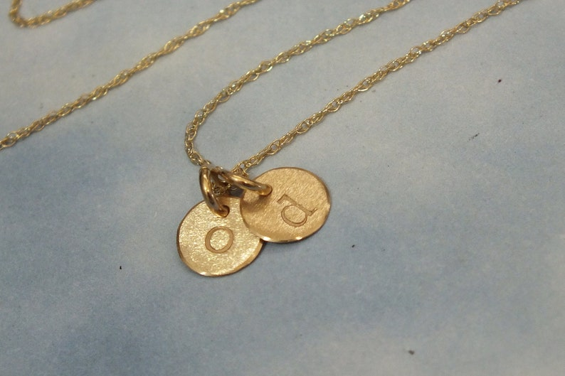 5a403afdaade8 Tiny 2 Charm Initial Necklace, 14k Solid Gold 2 Initial Disk Necklace, 14k  Solid Gold Necklace, Tiny 6mm Disc Personalized Necklace