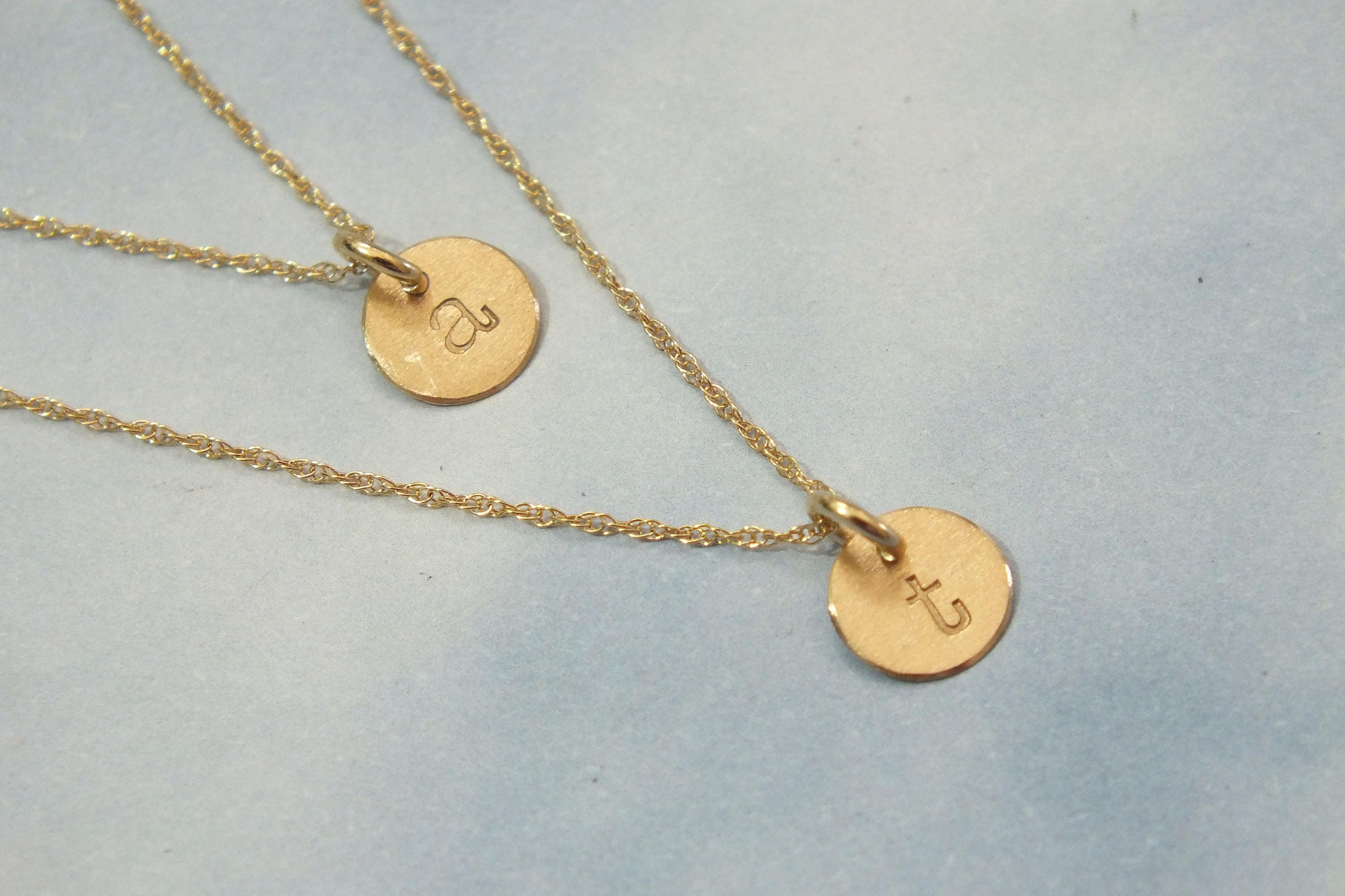 6d68f45b6571c 2 Solid Gold 6mm Initial Necklace, 2 Gold Necklace, Gold Pendant Necklace,  14k Solid Gold Necklace, Personalized Necklace