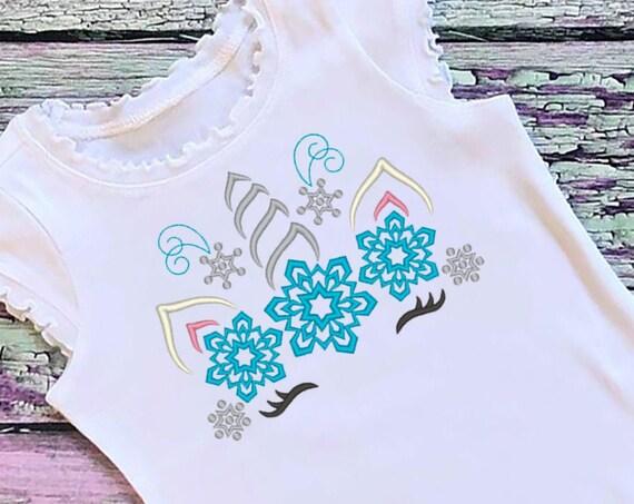 SAMPLE SALE, Snowflake Unicorn Embroidered Christmas Shirt-Kids Christmas Shirt -Girls Christmas Shirt -Unicorn Christmas - Unicorn Winter