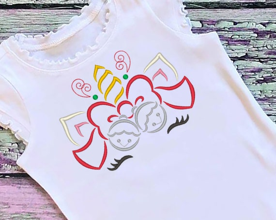 SAMPLE SALE, Sleigh Bells Unicorn Embroidered Christmas Shirt-Kids Christmas Shirt -Girls Christmas Shirt -Unicorn Christmas