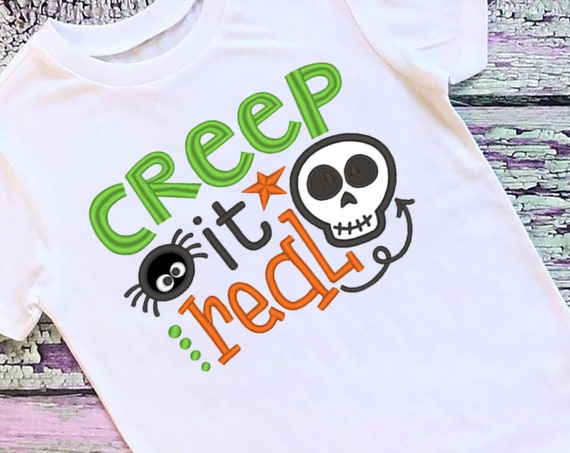 SAMPLE SALE, Creep It Real Embroidered Halloween Shirt - Kids Halloween Shirt - Boys Halloween Shirt - Fall Shirt - Skull - Spider