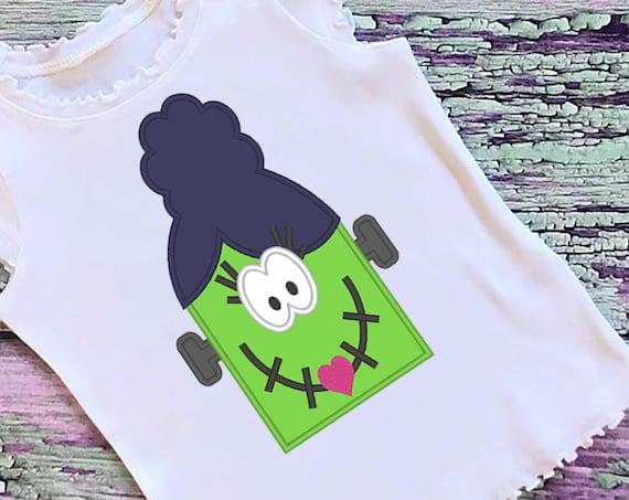 SAMPLE SALE, Franken Girl Embroidered Halloween Shirt - Kids Halloween Shirt - Girls Halloween Shirt - Fall Shirt - Frankenstein