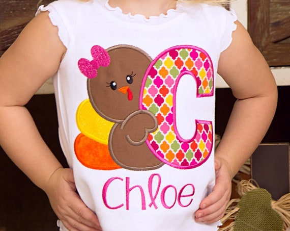 Girl Turkey Embroidered Fall Shirt - Girls Turkey Shirt - Girls Fall Shirt - Harvest Shirt - Thanksgiving - Girls Thanksgiving Shirt