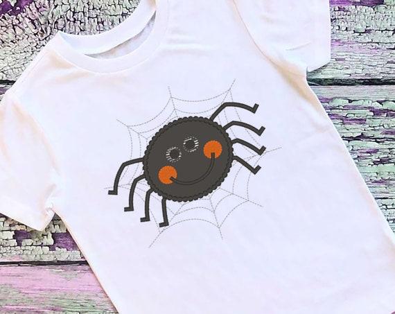 SAMPLE SALE, Boy Spider Embroidered Halloween Shirt - Kids Halloween Shirt - Boys Halloween Shirt - Girls Halloween Shirt - Spider Web