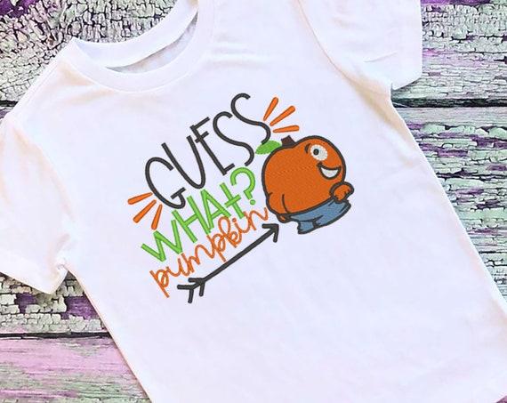 SAMPLE SALE, Guess What Pumpkin Butt Embroidered Halloween Shirt - Kids Halloween Shirt - Boys Halloween Shirt - Fall Shirt