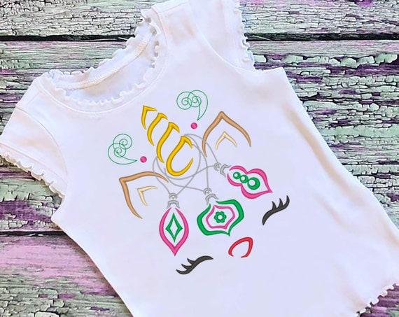 SAMPLE SALE, Ornaments Deer Unicorn Embroidered Christmas Shirt-Kids Christmas Shirt -Girls Christmas Shirt -Unicorn Christmas
