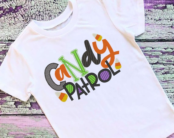 SAMPLE SALE, Candy Patrol Embroidered Halloween Shirt - Kids Halloween Shirt - Boys Halloween Shirt - Fall Shirt - Candy Corn
