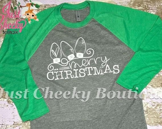 READY TO SHIP, Merry Christmas Light Screen Print Shirt-Adult Christmas Shirt -Mom Christmas Shirt-Women Christmas Shirt