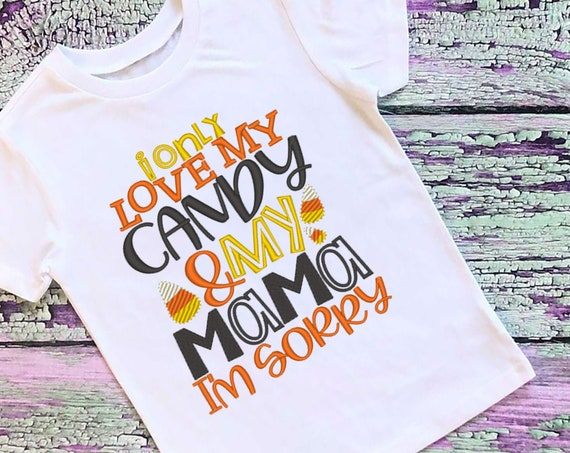SAMPLE SALE, I only Love Candy and My Mama Embroidered Halloween Shirt-Kids Halloween Shirt-Boys Halloween Shirt-Fall Shirt-Ghost