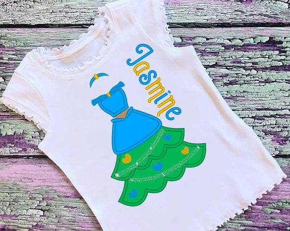 SAMPLE SALE, Jasmine Christmas Tree Embroidered Shirt - Aladdin - Disney Princess - Disney Christmas Vacation - Mickey Very Merry Christmas