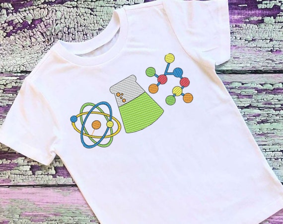 SAMPLE SALE, Sketch Science Embroidered Shirt | Back to School Shirt | Boys First Day of School Shirt | Girls First Day of School