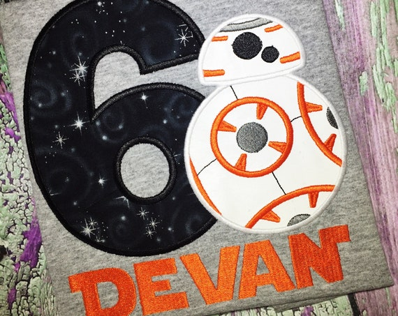 BB8 Inspired Birthday Shirt - Star Wars Inspired - Kids Embroidered Shirt - Force Friday Shirt -Star Wars Birthday Shirt -BB8 Birthday Shirt