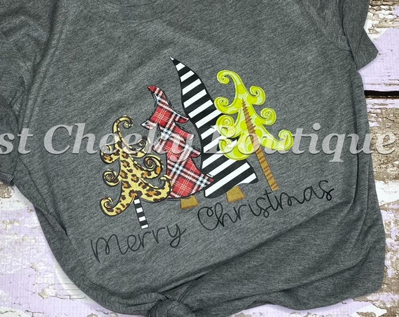 READY TO SHIP, Merry Christmas Trees Screen Print Shirt-Adult Christmas Shirt -Mom Christmas Shirt-Women Christmas Shirt
