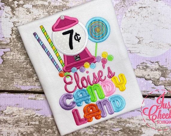Candy Birthday Shirt - Candy Shoppe Birthday - Candy Land Birthday - Lollipop Shirt - Gum ball Machine Shirt