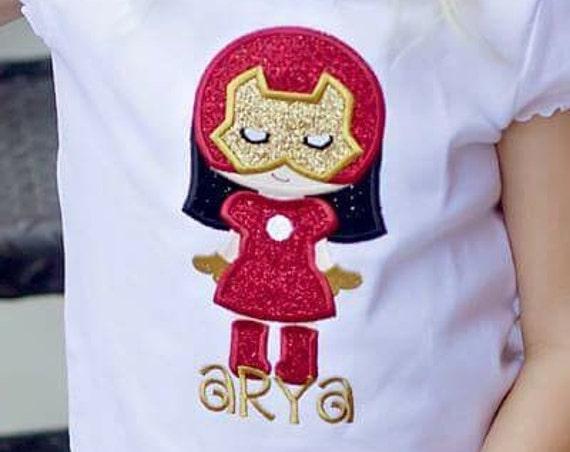 Iron Girl - Iron Man -  Super Hero Cutie Embroidered Shirt - Avengers
