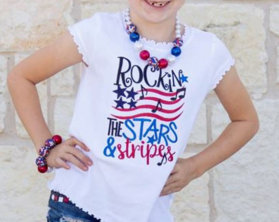 Rockin the Stars and Stripes - Girls 4th of July Shirt - Boys 4th of July Shirt -Kids Patriotic Shirt -Independence Day Shirt -Stars Stripes