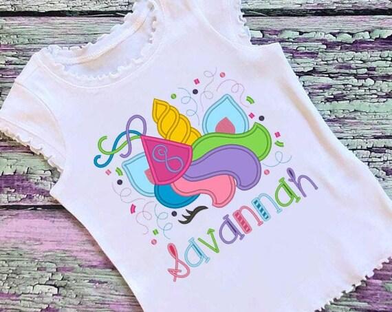 SAMPLE SALE, Birthday Unicorn Embroidered Shirt - Unicorn Horn - Unicorn Face - Unicorn Eyelashes - Unicorn Birthday Shirt
