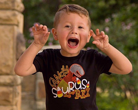 Candy Saurus Rex Embroidered Halloween Shirt - Halloween Dinosaur Shirt - Boys Halloween Shirt - Halloween Dinosaur Shirt - Candy Corn Shirt