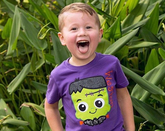 Franken Boy Embroidered Halloween Shirt - Kids Halloween Shirt - Boys Halloween Shirt - Boys Frankenstein Shirt -