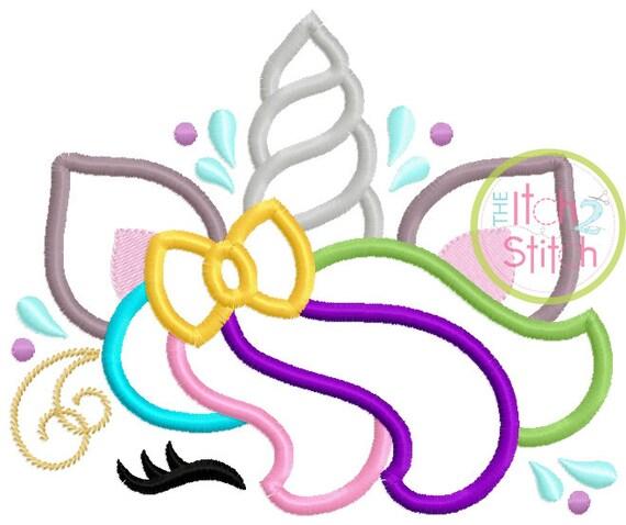 SAMPLE SALE, Rainbow Unicorn Mane Embroidered Shirt - Unicorn Horn - Unicorn Face - Unicorn Eyelashes - Unicorn Birthday Shirt