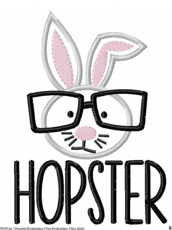 SAMPLE SALE, Hipster Hopster-Kids Easter Embroidered Shirt-Girls Easter Shirt-Boys Easter Shirt -Easter Sunday