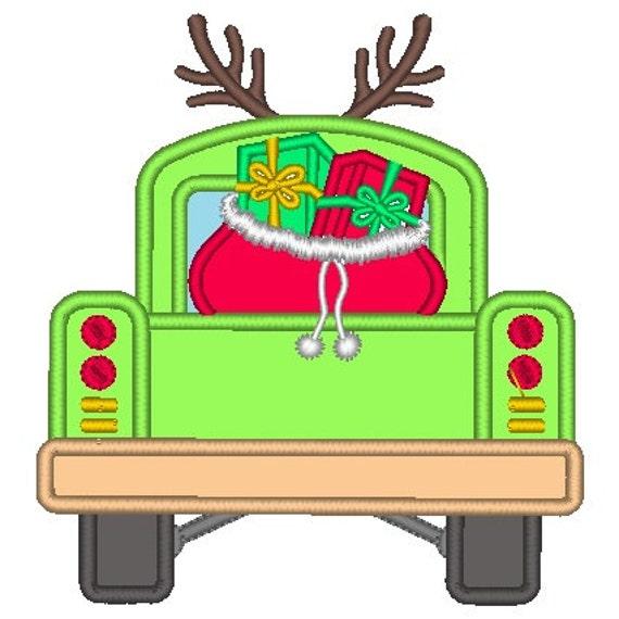 SAMPLE SALE, Santa's Bag in Truck Embroidered Shirt - Christmas Shirt - Girls Christmas Shirt - Boys Christmas Shirt