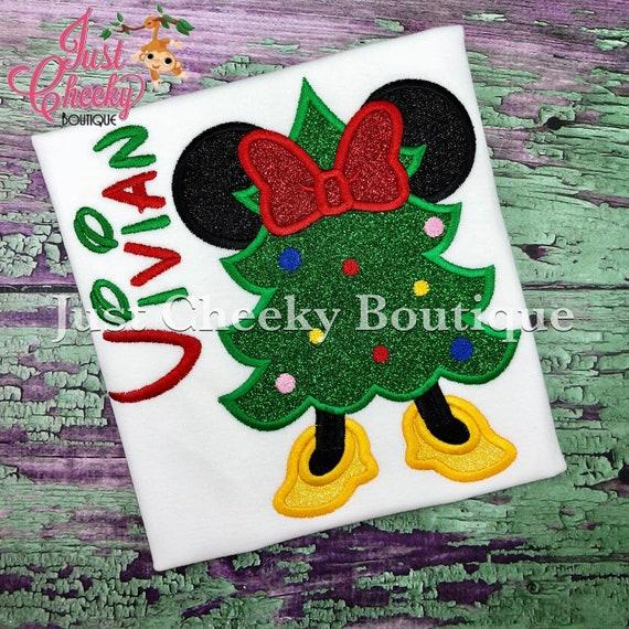 Mouse Ears Christmas Tree Embroidered Shirt - Kids Christmas Shirt - Minnie Mouse Christmas Shirt - Girls Christmas Shirt
