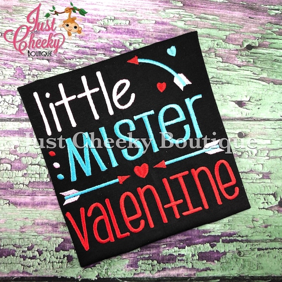Little Mister Valentine -  Valentine's Day Embroidered Shirt - Girls Valentine's Shirt - Boys Valentine's Shirt - February 14