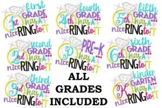 Diamond Ring Grade Embroidered Girls Shirt -Back to School Shirt-First Day of School Shirt-Kindergarten 1st Grade 2nd Grade-Graduation Shirt