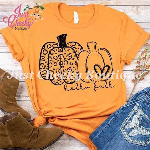 Hello Fall Screen Print Shirt-Mom Shirt-Funny Shirt-Sarcastic Shirt-Thanksgiving Shirt-Thankful Shirt-Fall Shirt-Autumn-Pumpkin-Leopard