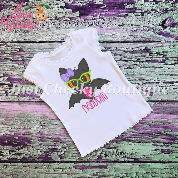 SAMPLE SALE, Girl Bat Embroidered Halloween Shirt - Boys Halloween Shirt - Girls Halloween Shirt - Fall Shirt - Autumn Shirt