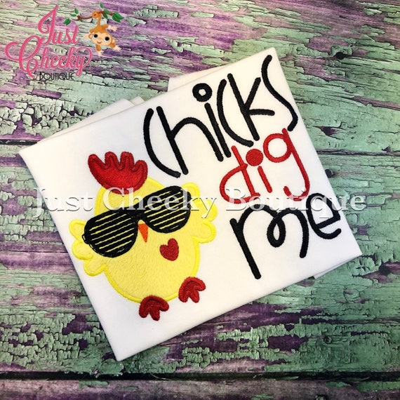 Chicks Dig Me -  Valentine's Day Embroidered Shirt - Girls Valentine's  Shirt - Boys Valentine's Shirt - February 14 - Love - H