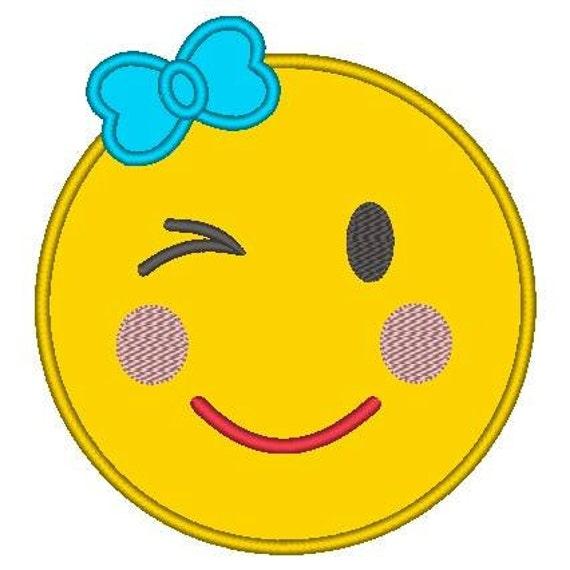 SAMPLE SALE, Winking Eye Girl Emoji Embroidered Shirt - Emoji Birthday - Emoji Birthday Shirt - Emoji Party - Emoji Movie